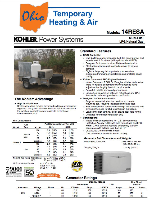 Kohler 14RESA product sheet