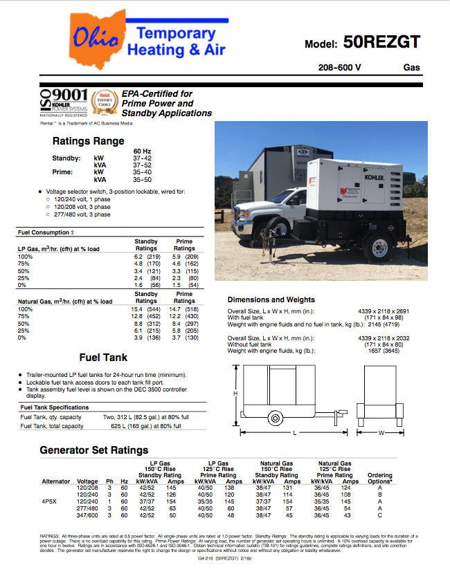 Kohler 50REZGT product sheet